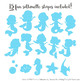 Sweet Mermaid Silhouettes Vector Clipart in Fresh Boy