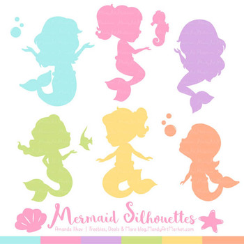 Sweet Mermaid Silhouettes Vector Clipart in Fresh Girl