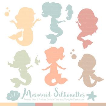 Sweet Mermaid Silhouettes Vector Clipart in Grandmas Garden Boy