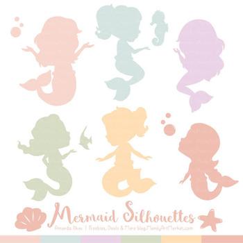Sweet Mermaid Silhouettes Vector Clipart in Grandmas Garden Girl