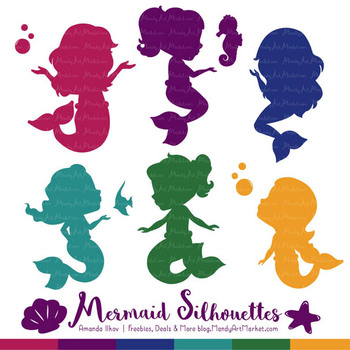 Sweet Mermaid Silhouettes Vector Clipart in Jewel