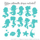 Sweet Mermaid Silhouettes Vector Clipart in Land & Sea