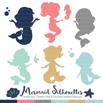Sweet Mermaid Silhouettes Vector Clipart in Modern Chic