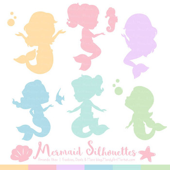 Sweet Mermaid Silhouettes Vector Clipart in Pastel