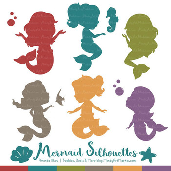 Sweet Mermaid Silhouettes Vector Clipart in Retro Bold