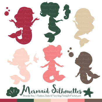 Sweet Mermaid Silhouettes Vector Clipart in Rose Garden