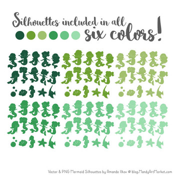Sweet Mermaid Silhouettes Vector Clipart in Shades of Green