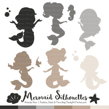 Sweet Mermaid Silhouettes Vector Clipart in Shades of Neutral
