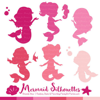 Sweet Mermaid Silhouettes Vector Clipart in Shades of Pink