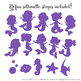 Sweet Mermaid Silhouettes Vector Clipart in Shades of Purple