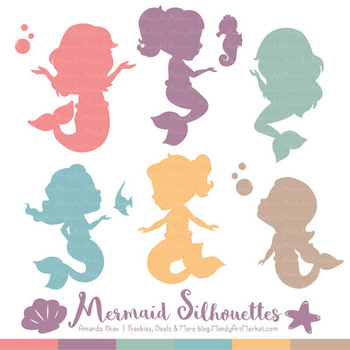 Sweet Mermaid Silhouettes Vector Clipart in Vintage Girl