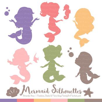 Sweet Mermaid Silhouettes Vector Clipart in Wildflowers