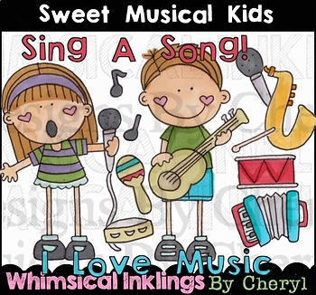 Sweet Musical Kids Clipart Collection