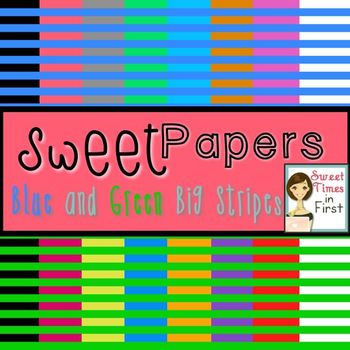 Sweet Papers: Blue and Green Big Stripes {Digital Paper For Commercial Use}
