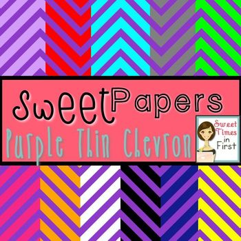 Sweet Papers: Purple Thin Chevron {Digital Papers For Commercial Use}