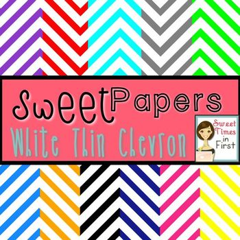 Sweet Papers: White Thin Chevron {Digital Papers For Commercial Use}