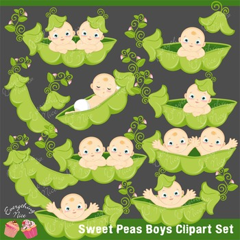 Sweet Peas Boys Clipart Set