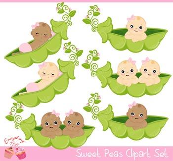 Sweet Peas Girls Clipart