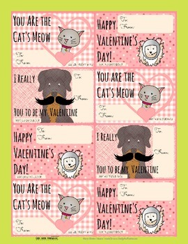 Sweet Printable Valentine's Day Cards from the pets.