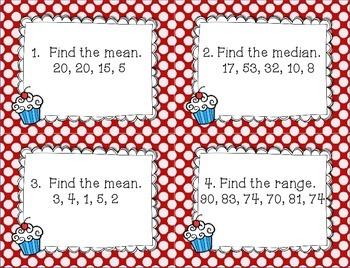 Measures of Central Tendency~Mean, Median, Mode & Range ~Task Cards & Worksheets