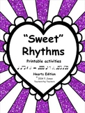 Music Worksheets:  Treble Clef Note Reading {Sweet Rhythms - Hearts Edition}