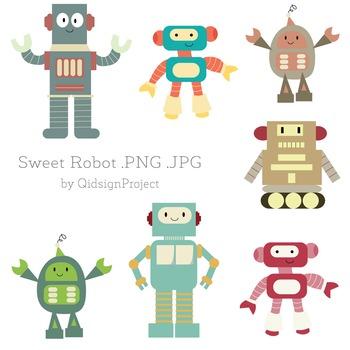 Sweet Robot Clipart - Machine Clipart