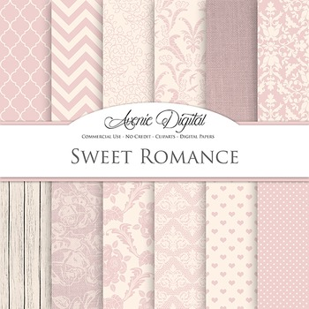 Sweet Romance Wedding Digital Paper patterns - bridal pink backgrounds