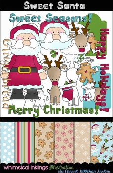 Sweet Santa Clipart and Paper Collection~ Christmas Clipart