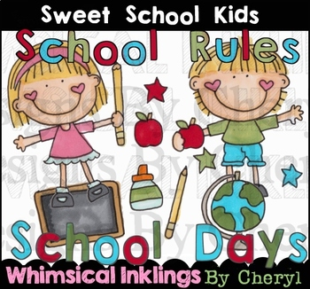 Sweet School Kids Clipart Collection