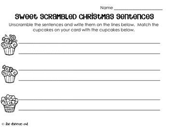 Sweet Scrambled Christmas Sentences FREEBIE