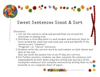 Sweet Sentence Scoot and Sort