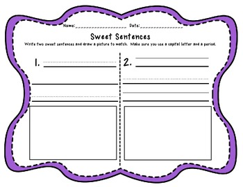 Sweet Sentences - A Sentence Sorting Game with pictures and words