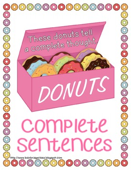 Sweet Sentences- Complete Sentence or Fragment Classroom or Hallway Hunt