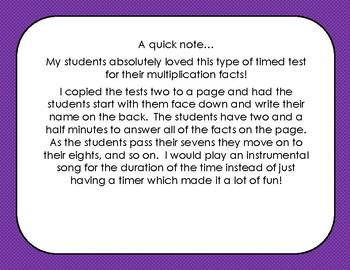 Sweet Sevens Multipliction Timed Test
