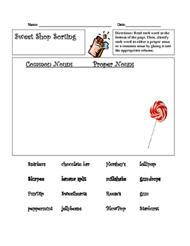 Sweet Shoppe Common and Proper Nouns