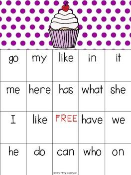 Sweet Valentine Sight Word Bingo