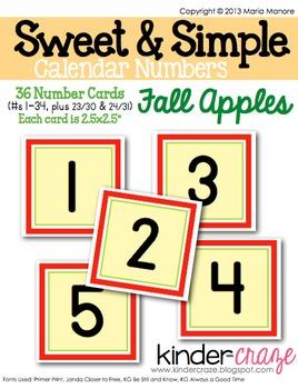 Sweet & Simple Calendar Numbers {Fall Apples}