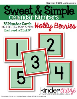 Sweet & Simple Calendar Numbers {Holly Berries}