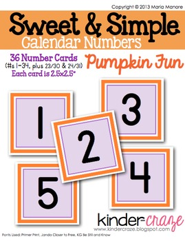 Sweet & Simple Calendar Numbers {Pumpkin Fun}