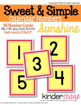 Sweet & Simple Calendar Numbers {Sunshine}