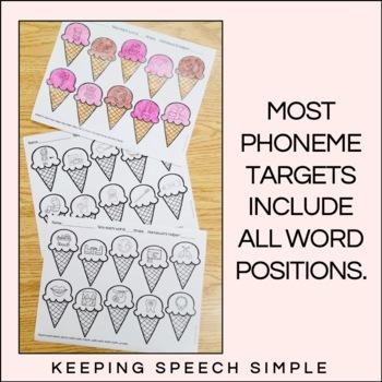 Sweet Speech No Prep Articulation Worksheets