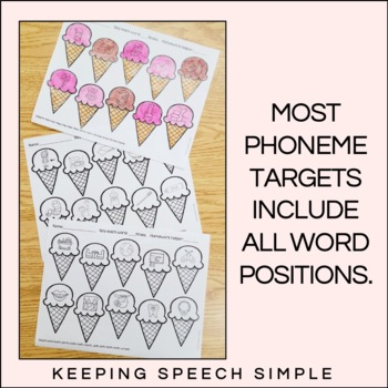 Sweet Speech No Prep Articulation Worksheets by Keeping Speech Simple