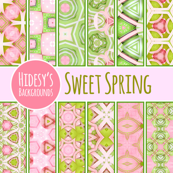 Sweet Spring Backgrounds / Digital Papers / Patterns Clip Art Commercial Use