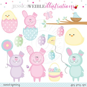 Sweet Spring Cute Digital Clipart, Easter Bunny Clip Art