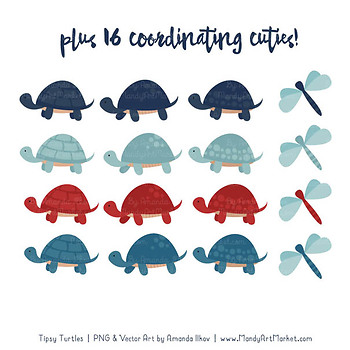 Sweet Stacks Tipsy Turtles Stack Clipart in Americana