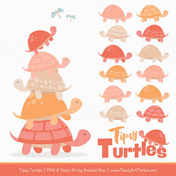 Sweet Stacks Tipsy Turtles Stack Clipart in Antique Peach