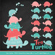 Sweet Stacks Tipsy Turtles Stack Clipart in Aqua & Coral