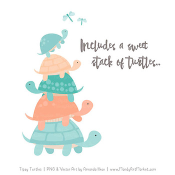 Sweet Stacks Tipsy Turtles Stack Clipart in Aqua & Peach