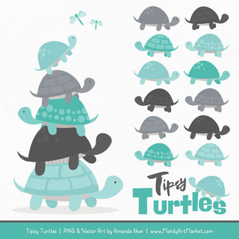 Sweet Stacks Tipsy Turtles Stack Clipart in Aqua & Pewter