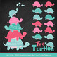 Sweet Stacks Tipsy Turtles Stack Clipart in Aqua & Pink